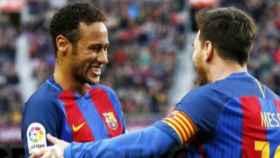 Messi y Neymar celebrando un gol   Foto: fcbarcelona.es