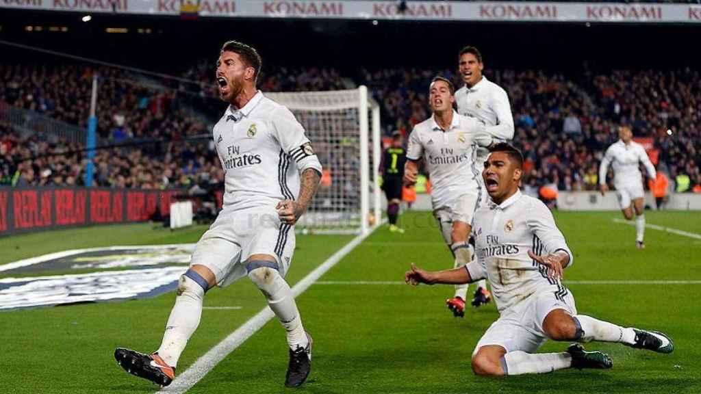 Ramos celebra su gol en El Clásico