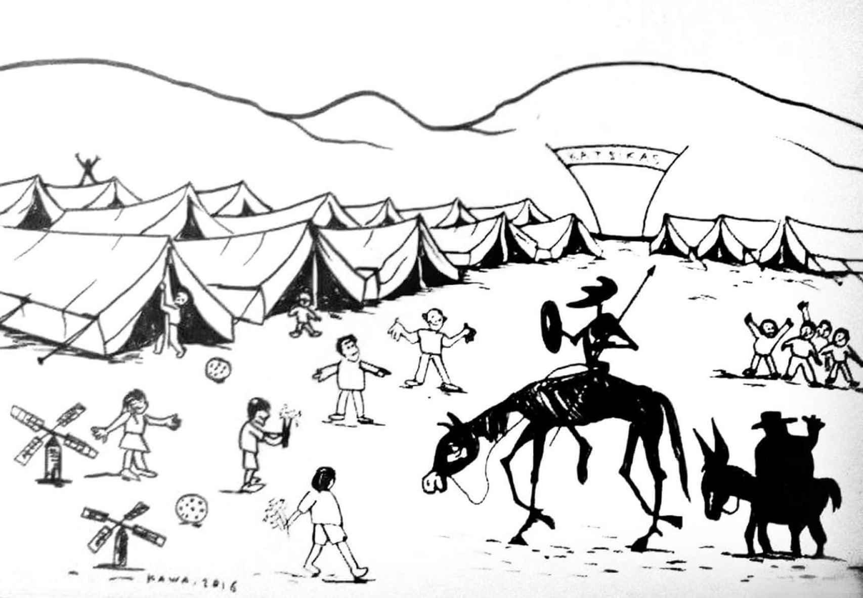 Dibujo de Kawa, uno de los refugiados.