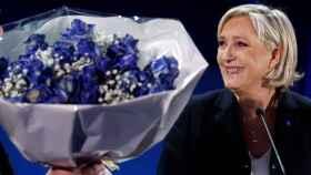 Marine Le Pen, en su cuartel general, celebrando su victoria.