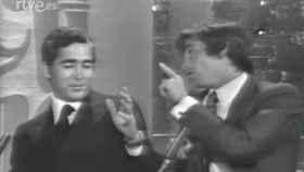 Momento en el que Paco Camino y Palomo Linares se encaran en televisión.