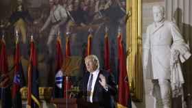 Trump, en un momento de su discurso en honor a las víctimas del Holocausto.