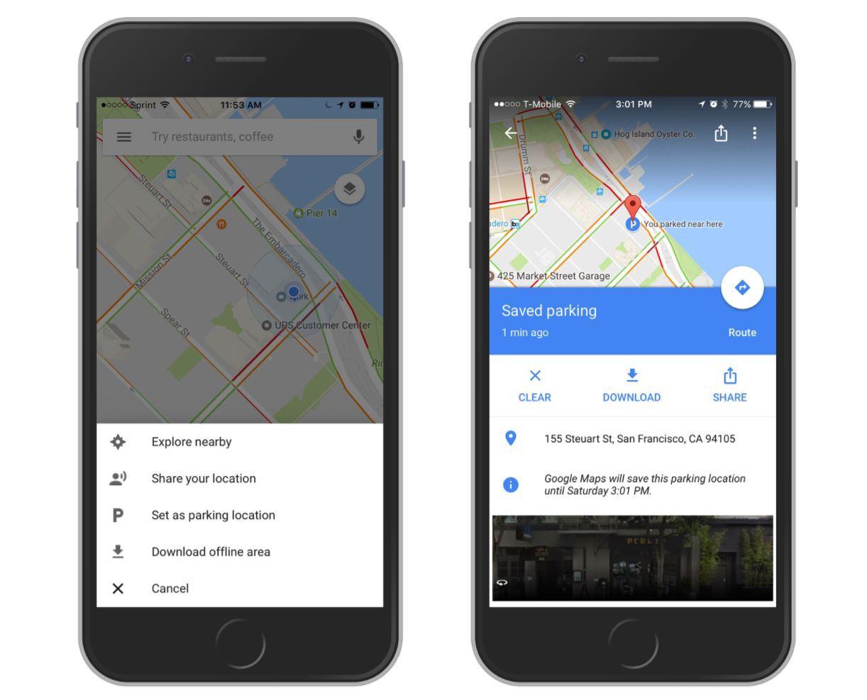 aparcamiento google maps ios