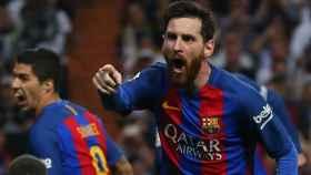 Messi celebra un gol ante el Real Madrid.