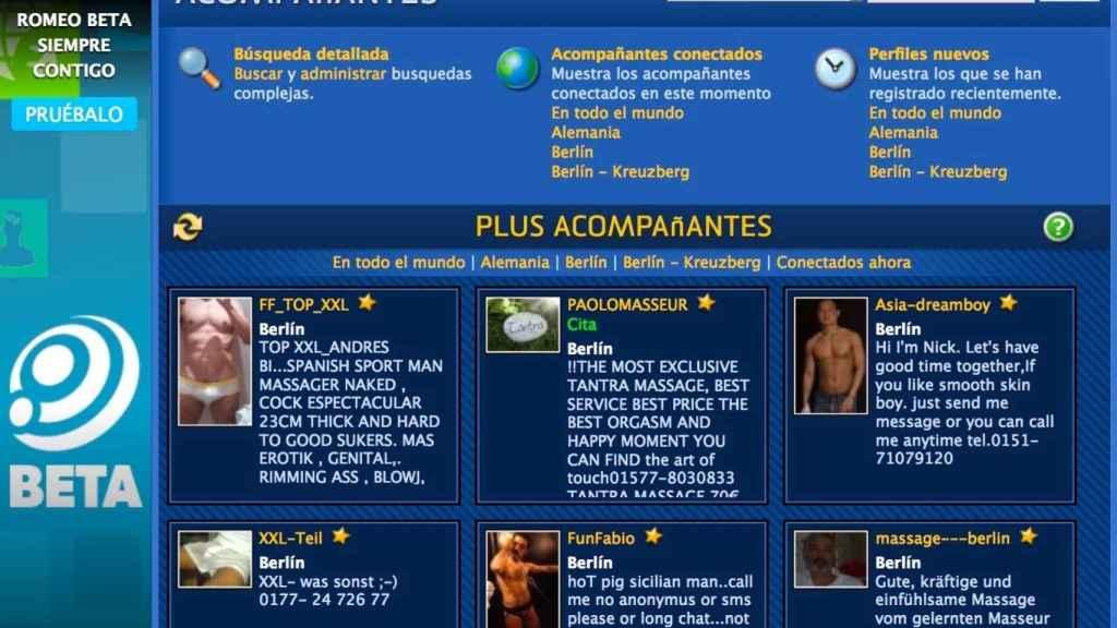 Página de contactos: arriba, a la izquierda, el anuncio de un español.