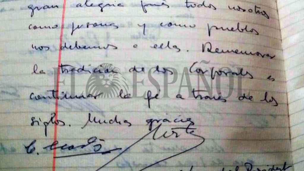 Dedicatoria de Marta Ferrusola a la hermandad de los Santos Corporales, 1992.