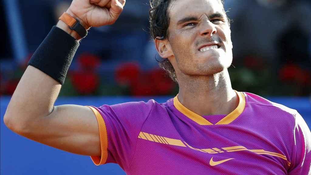 Nadal, celebrando su pase a semifinales de Barcelona.