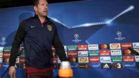 Simeone, en la rueda de prensa previa al enfrentamiento contra el Madrid.