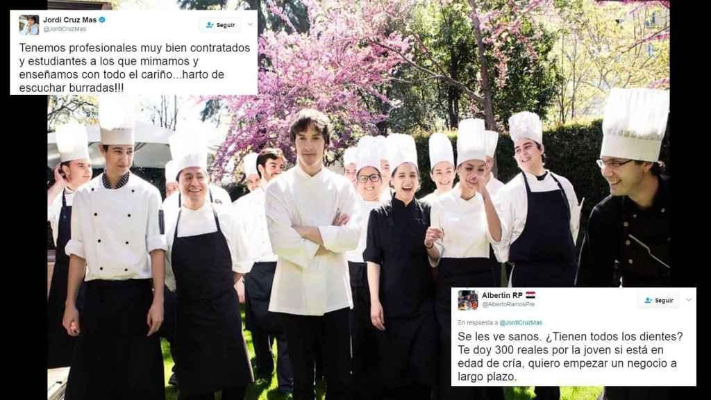 El tuit de Jordi Cruz y una de las réplicas mordaces.