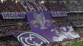 El tifo despegado en la semifinal de la Champion League, en el Bernabéu.
