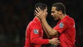 Ronaldo y Ferdinand en el United. Foto. manutd.com