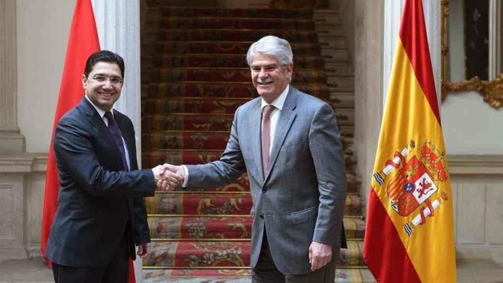 Dastis y su homólogo marroquí Nasser Bourita, este miércoles en Madrid.