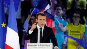 Macron, durante un mitin este jueves en París