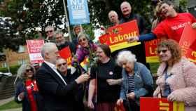 El laborista Jeremy Corbyn, en un momento del día de la votación.