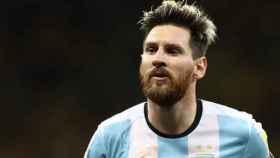 Messi durante un partido de la selección argentina