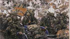 Desplazamiento hacia una posición a través de una población en ruinas, Harvey Thomas Dunn.