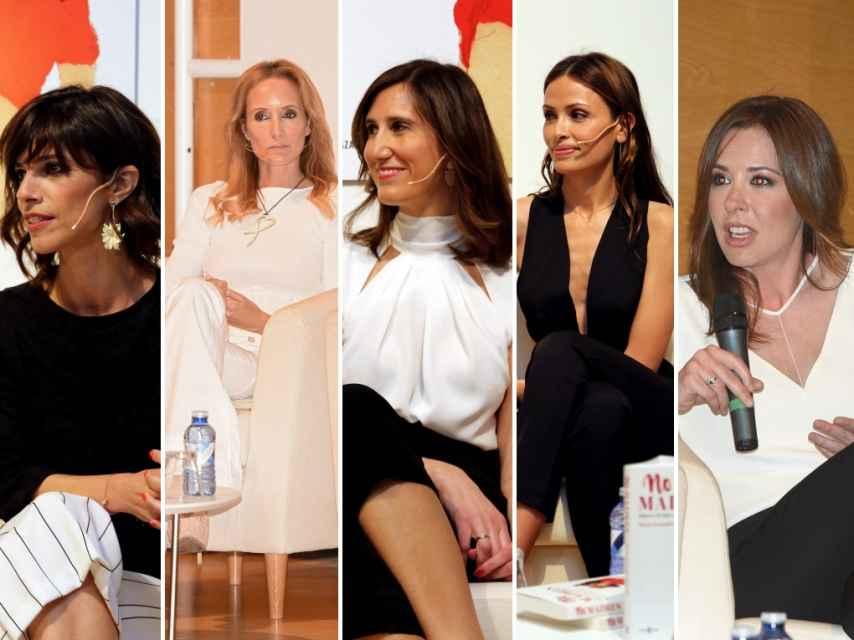 De izquierda a derecha: la actriz Maribel Verdú, las modelo Sandra Ibarra, la periodista María Fernández-Miranda, la modelo y Almudena Fernández, y la periodista Mamen Mendizábal.