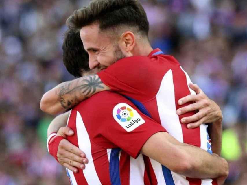 Saúl celebra un gol contra el Eibar.