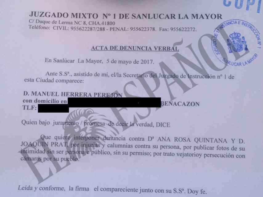 Denuncia presentada por Manuel Herrera contra Ana Rosa Quintana y Joaquín Prat.