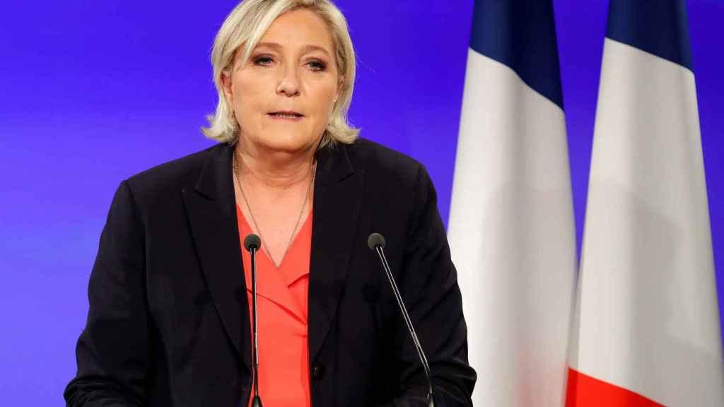 Le Pen durante su discurso de derrota