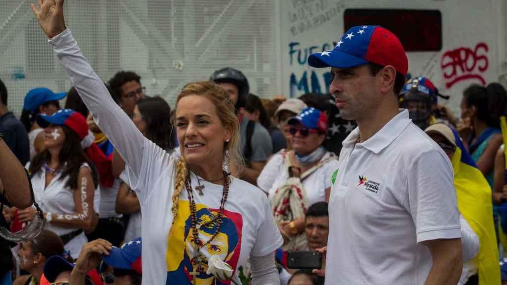 Capriles y Tintori esta semana en una manifestación en Caracas