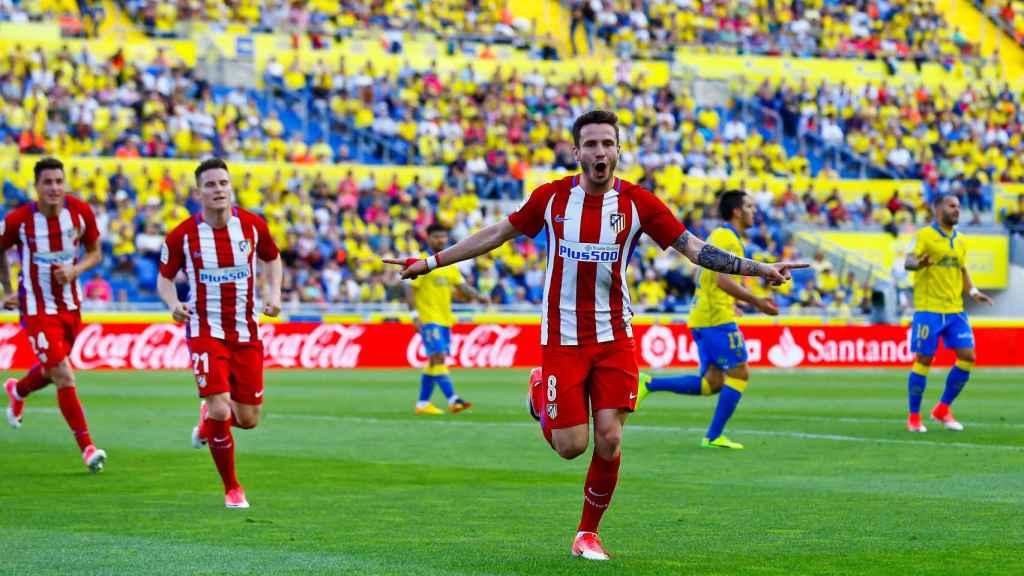 Sául celebra un gol contra Las Palmas.
