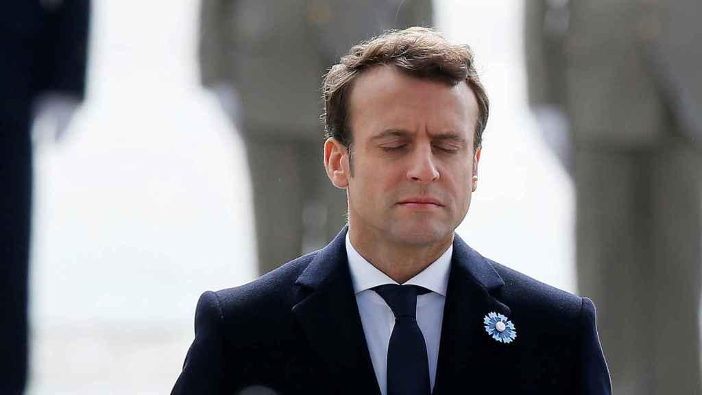 Macron, este lunes durante la celebración del Día de la Victoria
