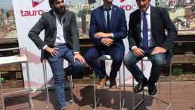 Javier Tebas, Carmelo López y Manuel Molés durante la presentación de Taurocast