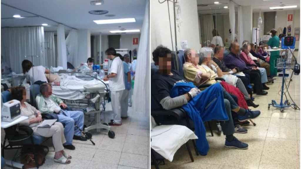Dos imágenes que recogen el aspecto de las salas de urgencias