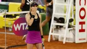 Bouchard, celebrando su victoria ante Sharapova.