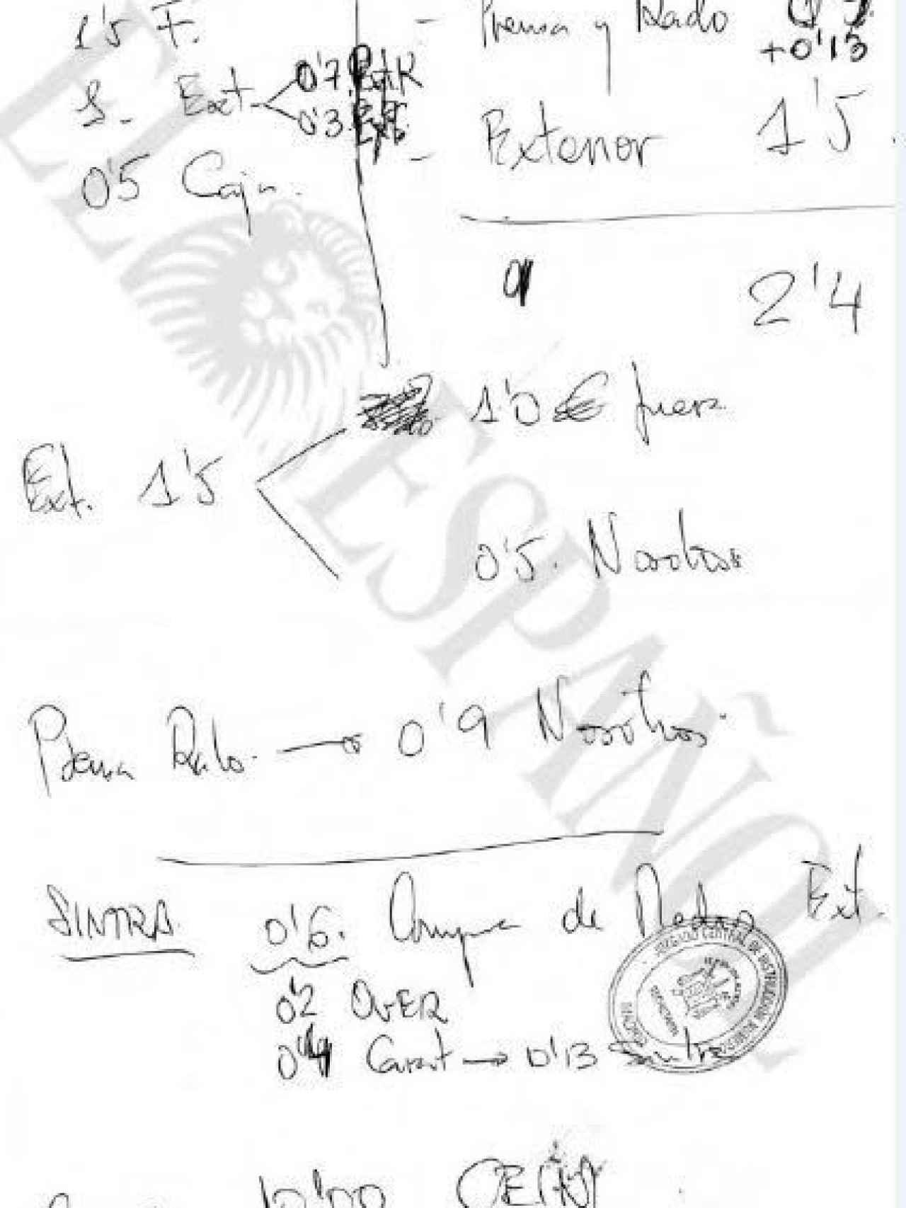 Documento incautado por la Guardia Civil.