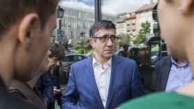 El candidato a la secretaría general del PSOE, este miércoles en la plaza Pedro Zerolo de Madrid.