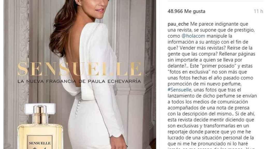 Captura de la publicación en redes de Paula Echevarría.