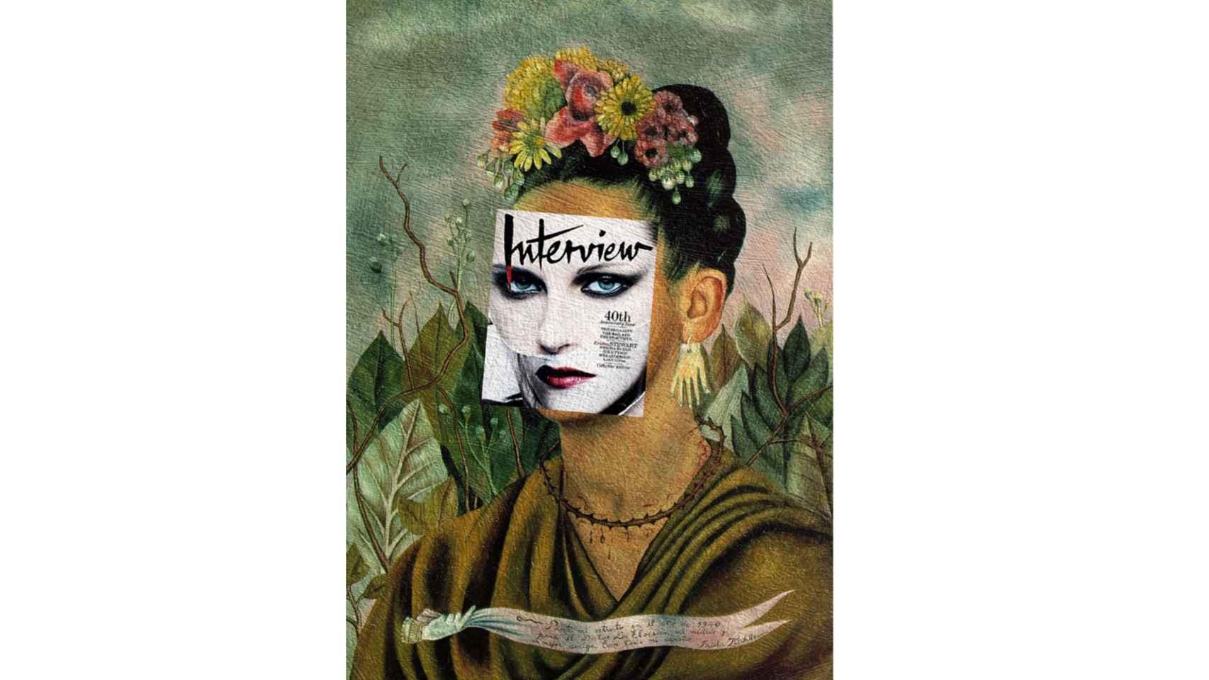 """Portada de la revista Interview en """"Frida Kahlo, autorretrato dedicado al Dr. Eloesser"""" (1940)."""