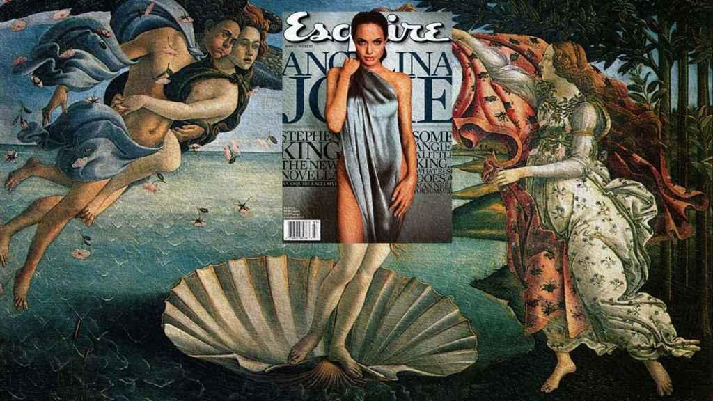 "Angelina Jolie en ""El nacimiento de Venus"" de Sandro Botticelli (1484). |Foto: Eisen Bernard Bernardo."