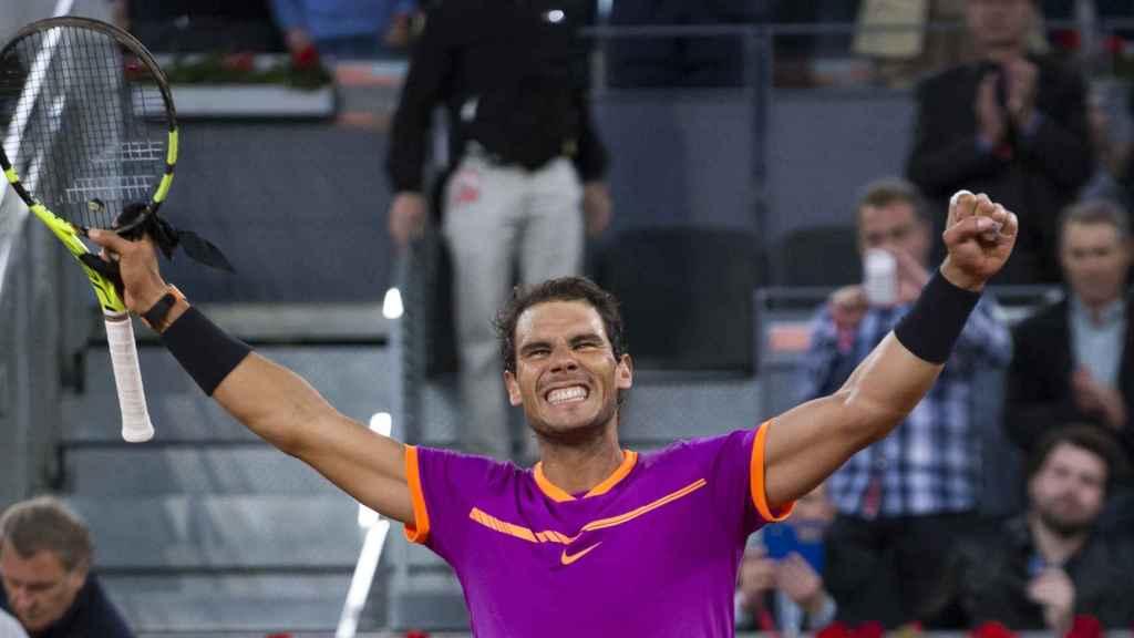 Nadal, celebrando su victoria ante Kyrgios en Madrid.