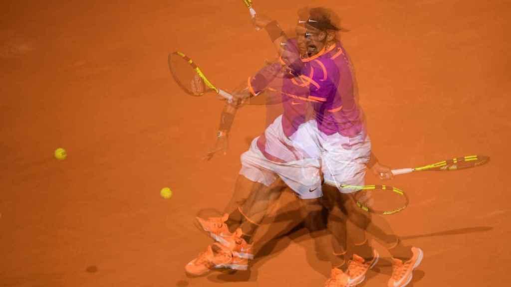 Nadal, durante su primer partido en el Mutua Madrid Open.