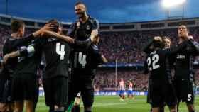 Celebración del gol de Isco en el Calderón