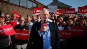 Corbyn durante un acto electoral este miércoles