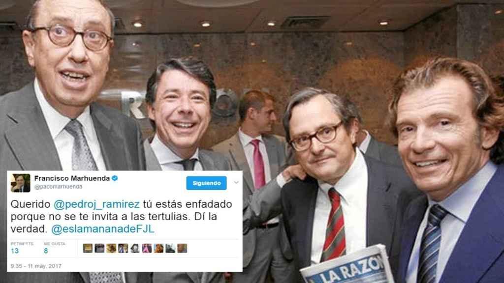 Uno de los tuits en los que Marhuenda acusa al director de EL ESPAÑOL. En la foto, con Mauricio Casals e Ignacio González.