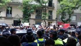 Protesta ante el centro cultural en Madrid.