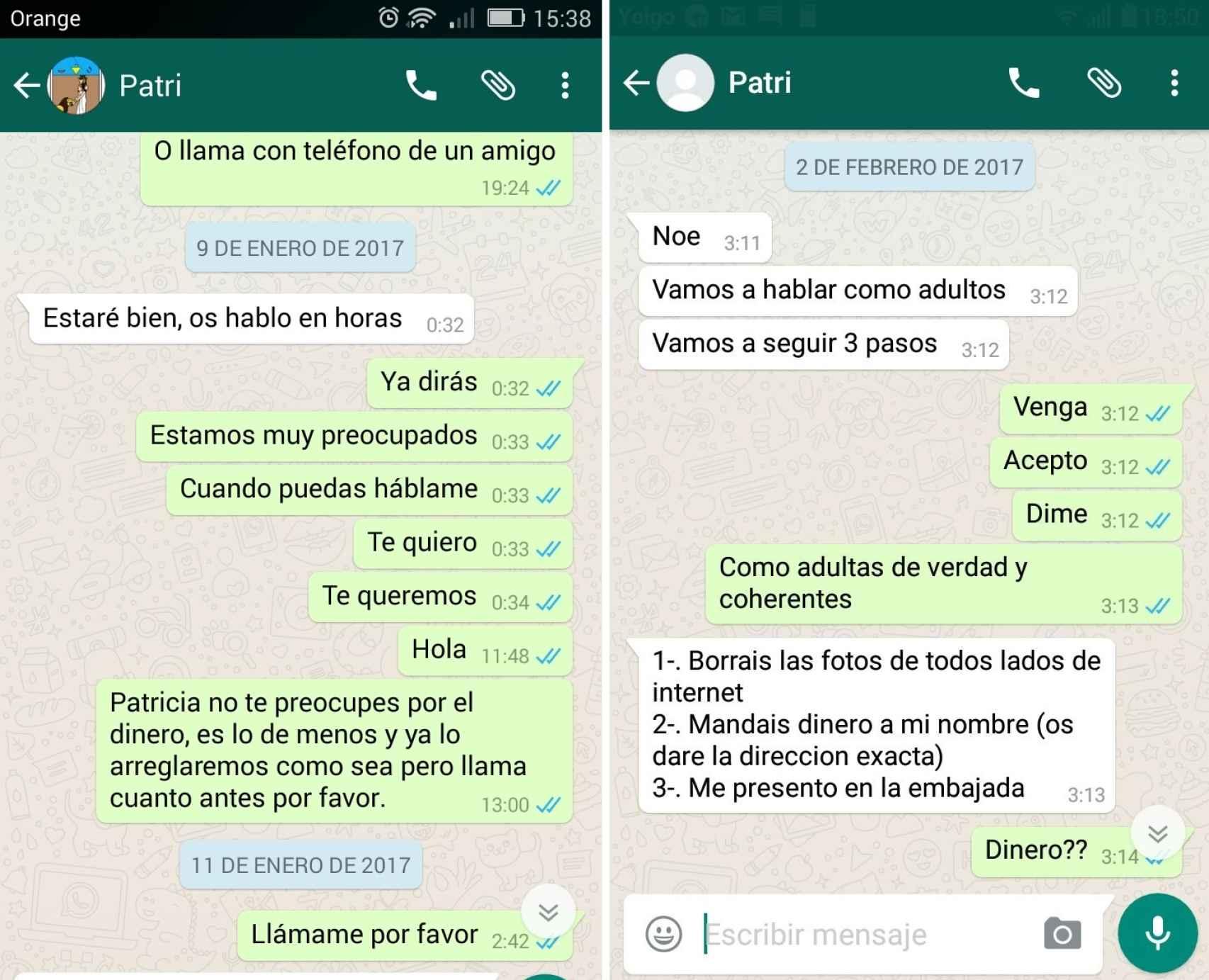 A la izquierda, el mensaje que mandó Patricia Aguilar a punto de volar rumbo a Perú; a la derecha, un mensaje que envió desde Lima.