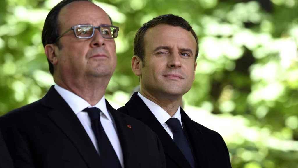 Hollande y Macron, durante un acto en París