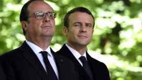 Hollande y Macron, durante un acto este viernes en París