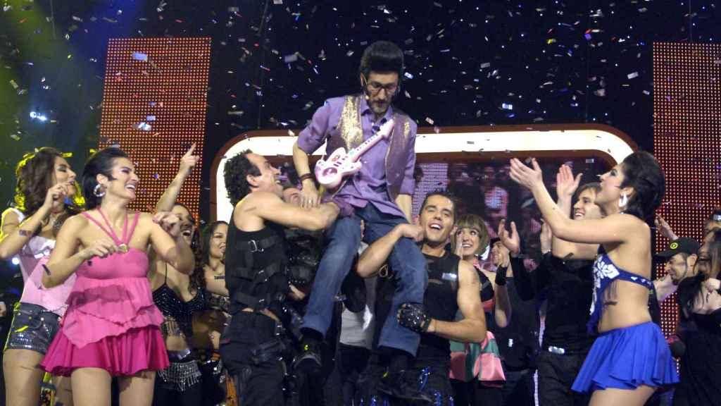 Chikilicuatre, durante su actuación en Eurovisión.