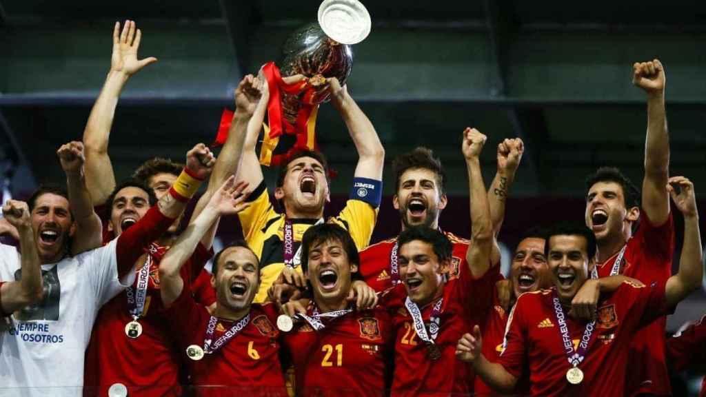 Imagen de la selección al ganar la Eurocopa de 2012.