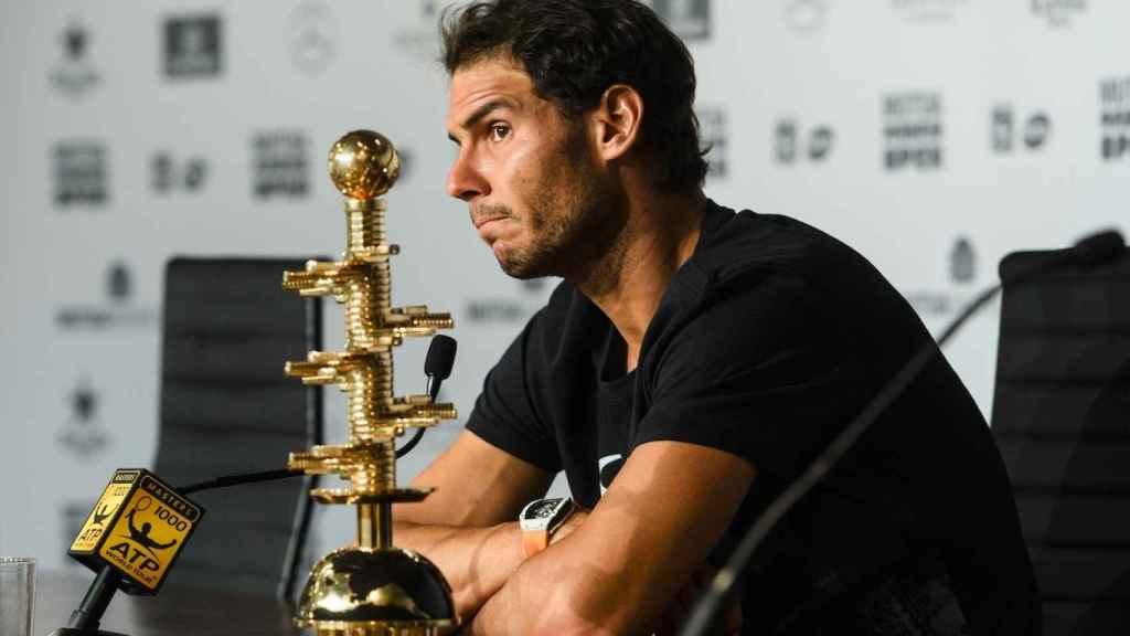 Nadal, atendiendo a la prensa tras su victoria en Madrid.