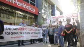 Huelga en la sede de 'El Periódico de Catalunya' esta mañana.