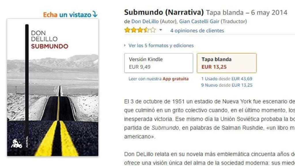 Los precios del libro original aparecen más destacados en Amazon que ejemplares usados.