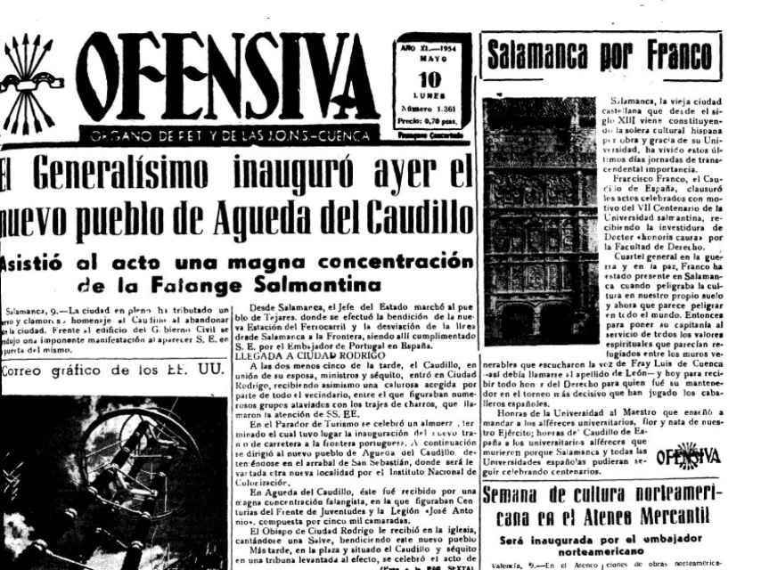 En los diarios de la época, como en esta publicación de Ofensiva se alababa el acto del dictador al día siguiente de la inauguración del pueblo.